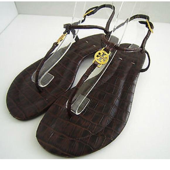 39f74b752637f TORY BURCH Emmy Brown Croc Pattern Leather Sandal.  M 5ac29dd1a4c4856a05e8908a